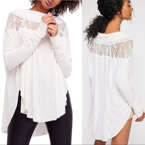 Free People Ivory Lace Flowy Thermal Tunic Top L